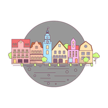 Flat Line city landscape icon, website elements layout of Urban Landscape. Buildings in the circle 向量圖像