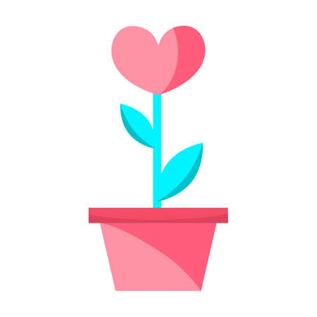 Valentine s day flat design modern icon flower heart