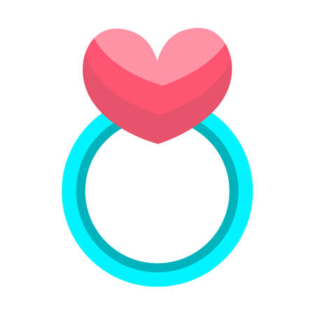 Love ring flat style icon. Flat stylized object.