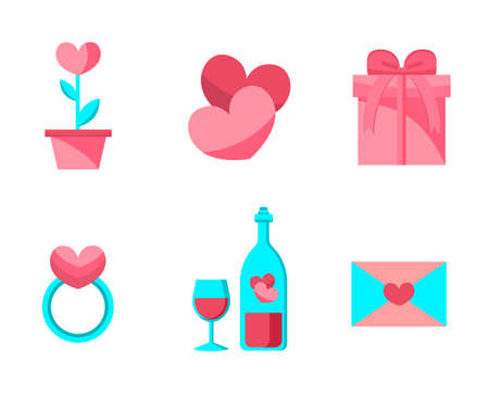 Happy Valentine Day Objects Set . Flat Design . Collection of Love Wedding Items