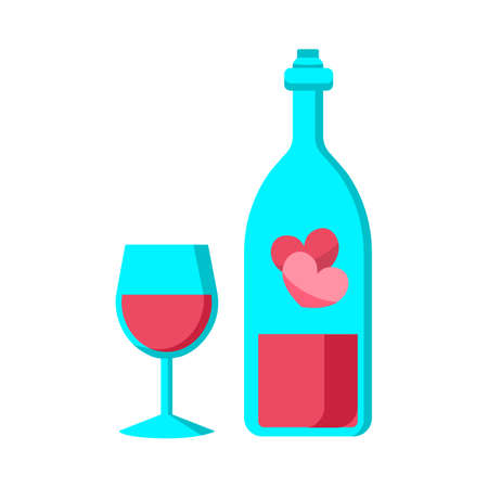 Celebration, love, valentines day icon. Bottle and glass of wine.