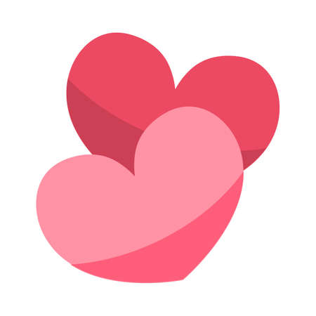 Heart shapes flat design icons. Valentines day, love symbols