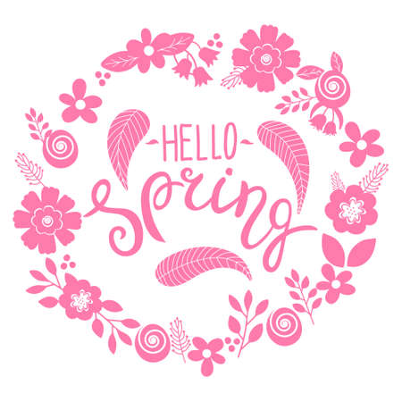 Hello spring lettering greeting card. Hand drawn illustration with flower wreath and lettering 向量圖像