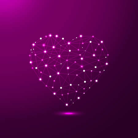 Abstract Heart icon form lines and triangles in low poly style consisting of points, lines, and shapes in the form of planets, stars and the universe
