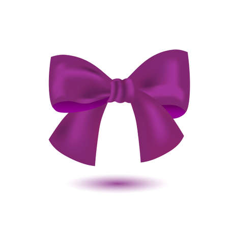 Realistic purple bow isolated on white background. 向量圖像
