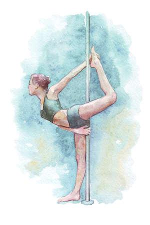 pylon: girl doing stretching exercise on pylon watercolor illustration