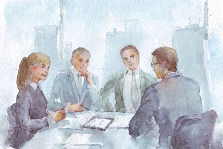 business work team  in the office watercolor illustration Stock Photo