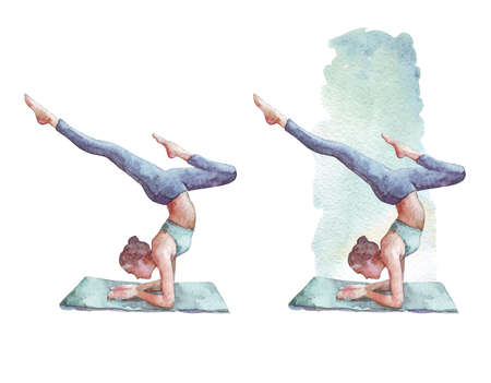 sporty girl practices Forearm Stand watercolor illustration
