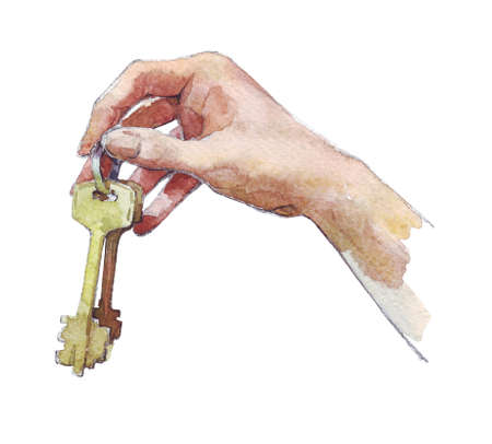 hand holding keys watercolor illustration Stock Photo