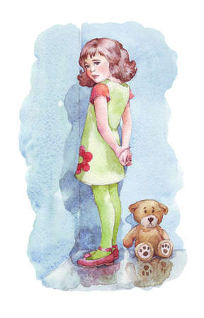 girl standing in the corner watercolor illustration