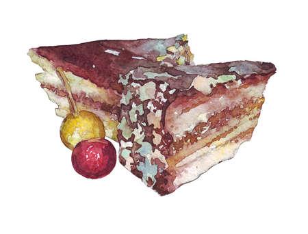 porcion de torta: Dos rebanadas de pastel acuarela ilustración