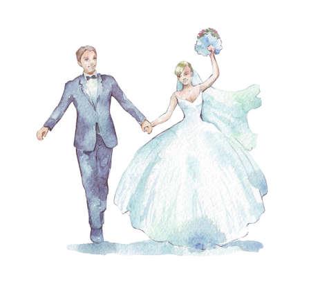 신랑과 신부가 하얀 수채화 그림 스톡 콘텐츠