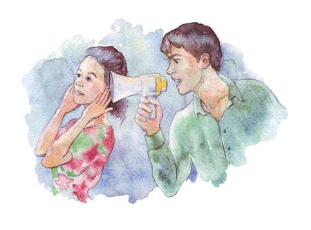 Man Screaming on woman through Megaphone watercolor illustration