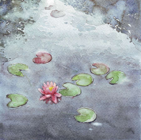 pink nenuphar lake watercolor illustration Stock Photo