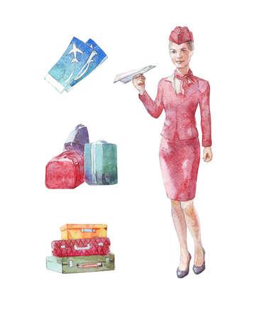 Stewardess, luggage, tickets watercolor illustration