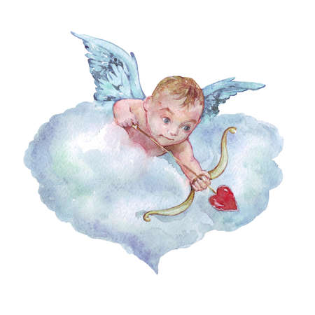 Cupido Disparar flecha acuarela ilustración Foto de archivo - 86324950