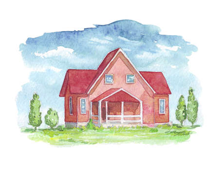 House exterior watercolor illustration