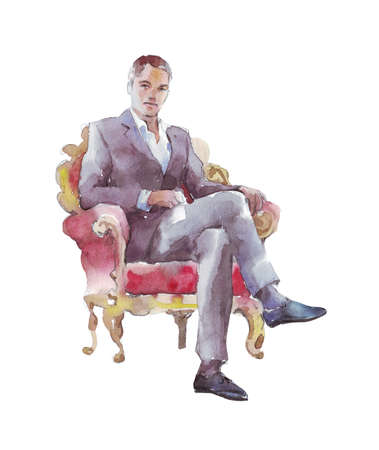 businessman sitting in a chair watercolor illustration
