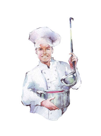 Cook with a pan and ladle watercolor illustration