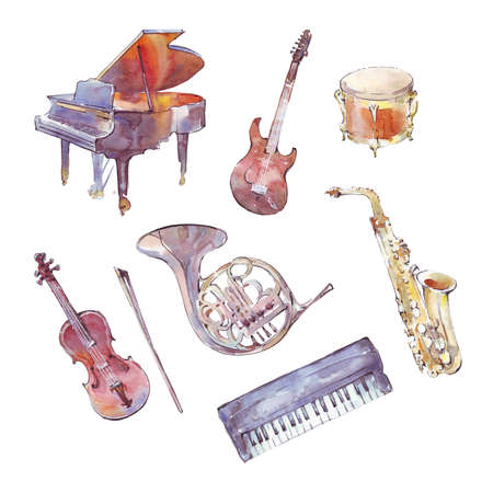 musical instruments watercolor set