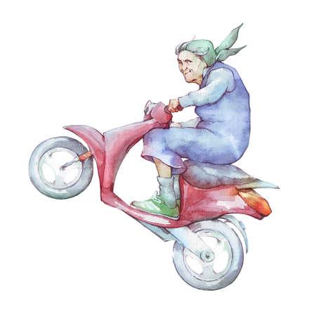 Abuela conduciendo scooter ilustración acuarela Foto de archivo