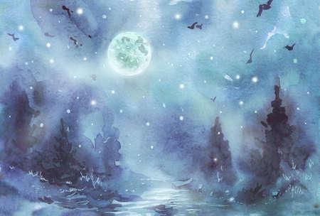 Dark midnight Forest fir watercolor illustration