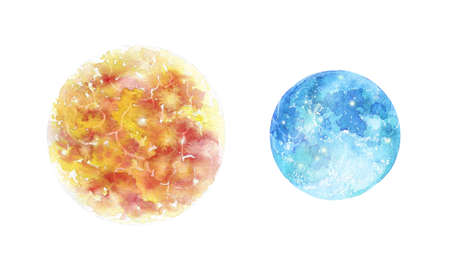 Sun and Moon Day and nigh watercolor illustration
