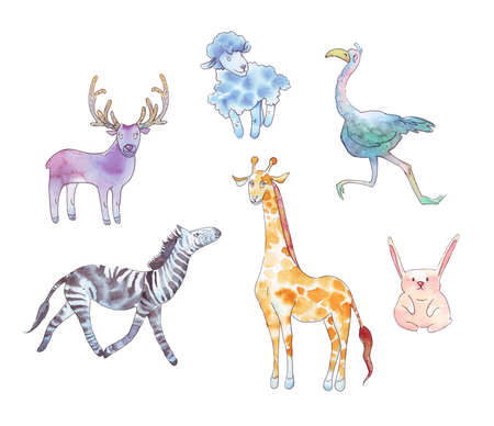 Set of animals watercolor illustration isolated