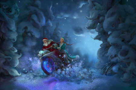 Santa Claus and Snow Maiden in a forest illustration