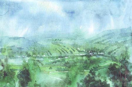 Mountains in Carpathians summer watercolor illustration