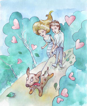a couple walking their dog watercolor illustration