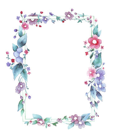 Watercolor floral frame hand painted on white Stock fotó