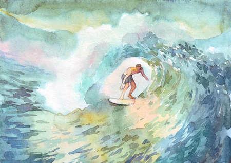 surfer man ocean watercolor illustration