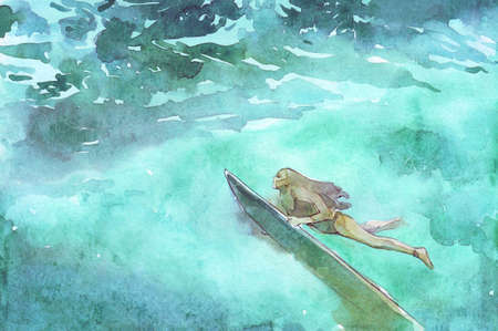 surfing girl underwater watercolor illustration