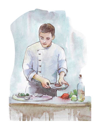 chef cooking watercolor illustration isolated