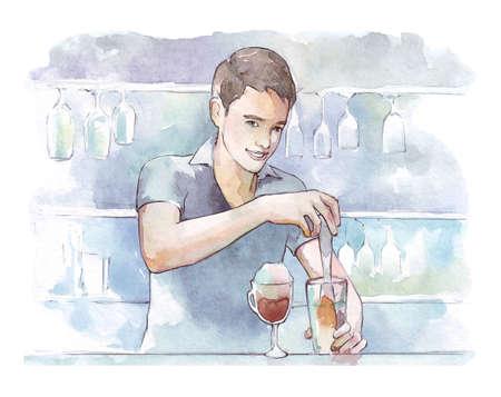 barmen making cocktails watercolor illustration