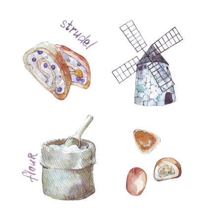 strudel flour ppatty and windmill watercolor illustration