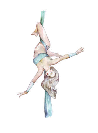 aerial silks girl watercolor hand painted