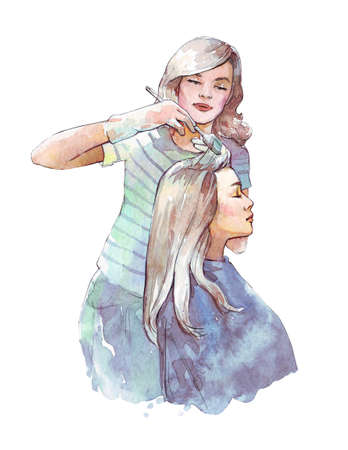 hairstylist dyeing hair watercolor illustration hand painted