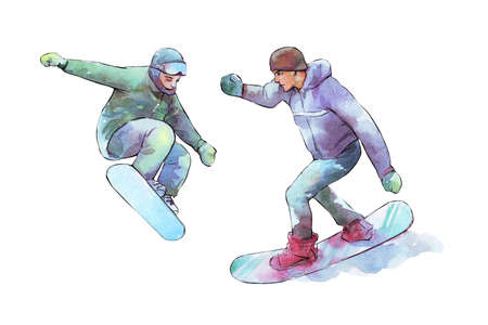snowboarding man watercolor illustration isolated on white