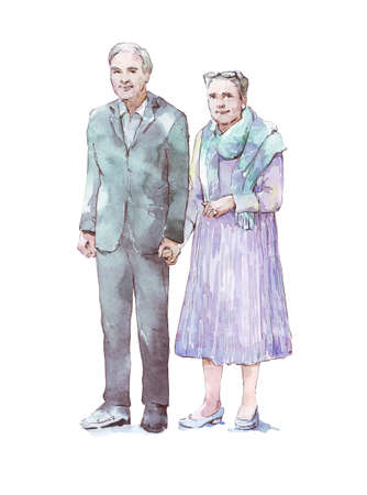 old man and woman together watercolor illustration