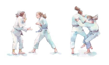 two women fighting judo watercolor illustration