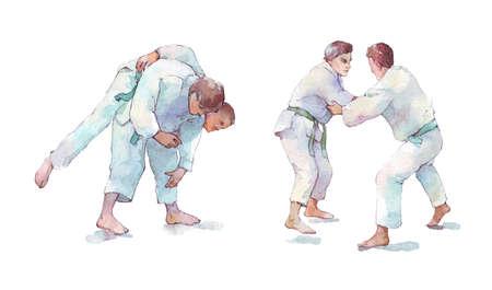 two man training judo watercolor illustration Stock fotó