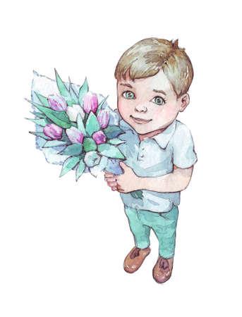 little boy with a tulip bouquet watercolor illustration