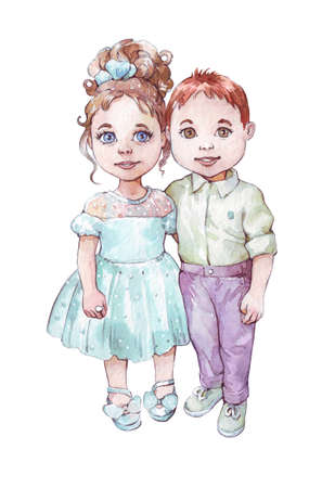 little girl and boy hugging