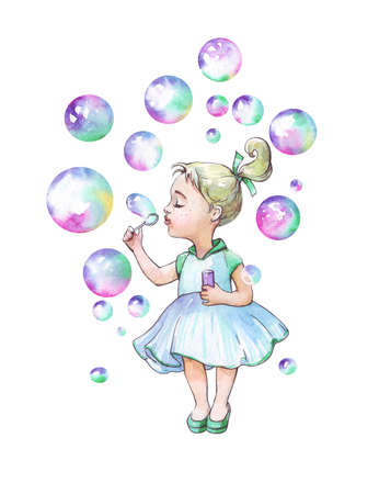 Little girl blowing soap bubbles watercolor illustration