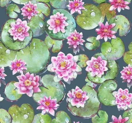 Seamless pattern of watercolor waterlilies from top Stock fotó