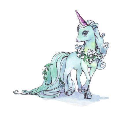 Unicorn. Blue Horse. Watercolor Illustration isolated Stock fotó - 121867799