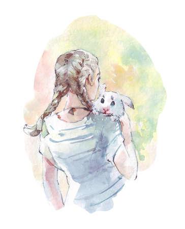 rabbit sitting on a girls shoulder