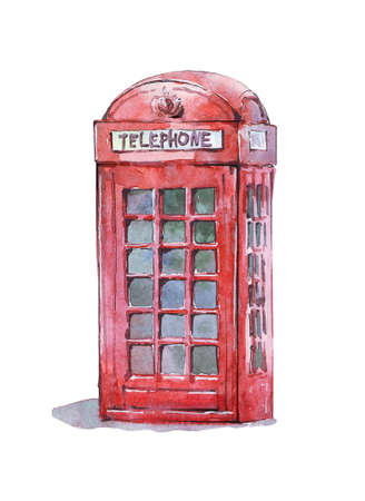 british traditional telephone booth watercolor